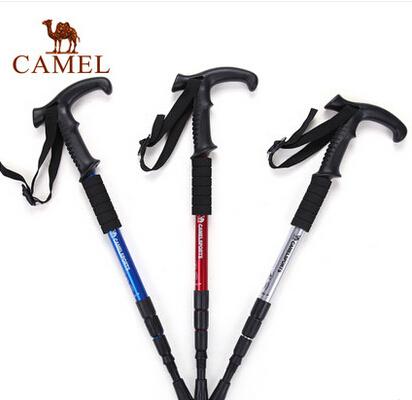 CAMEL骆驼户外登山杖徒步T型4节伸缩超轻登山拐杖