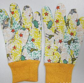 纱卡布印花花园儿童手套 防护