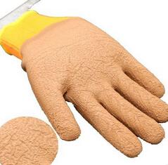 冬季毛圈发泡半挂拉毛防滑保暖防护手套耐磨透气性好劳保手套