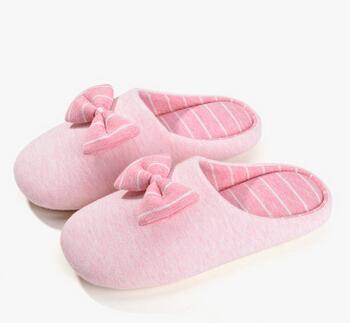 情侣日式居家保暖拖鞋女冬季蝴蝶结地板拖 软底家居纯棉拖鞋