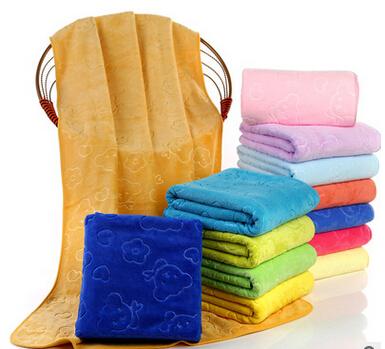 超细纤维400g超厚压花三秒快干包边浴巾沙滩巾