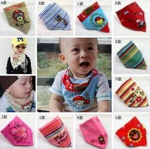 (日单口水巾)可爱三角巾/头巾/小领巾 魔术贴口水巾