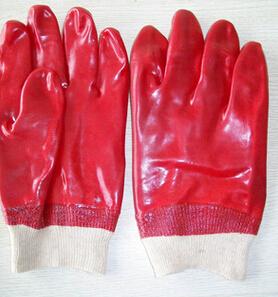 PVC耐油、耐酸碱、螺纹袖口、劳动防护手套