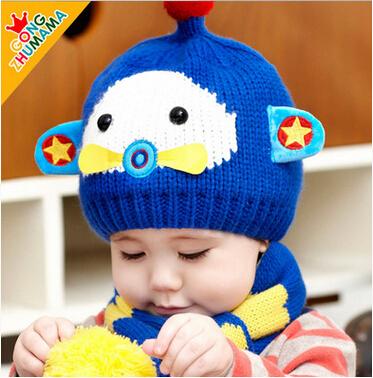 婴儿帽子 宝宝冬季针织护耳帽围脖套装