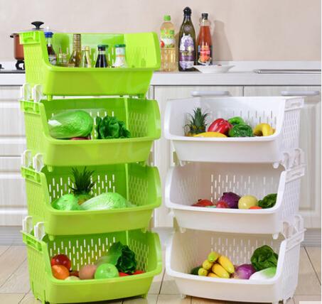 加厚厨房置物架落地蔬菜置物架水果厨房用品转角架塑料置物架