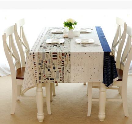 高档棉麻桌布宜家拼色图案美式乡村餐桌布