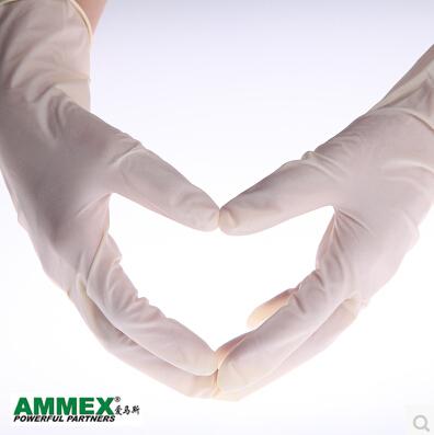 爱马斯一次性无粉乳胶手套家务厨房医用实验室医疗手套100只装