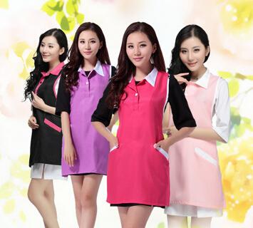 韩版时尚可爱围裙工作服美甲店美容师母婴超市餐厅咖啡店服务员