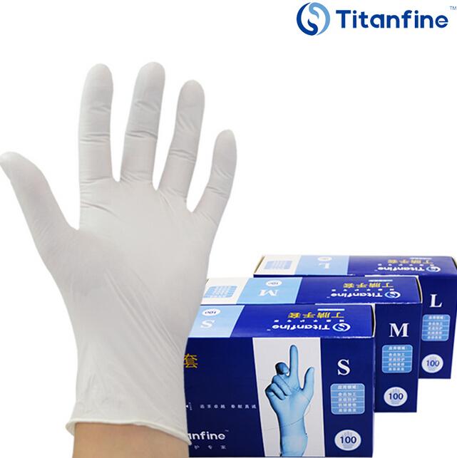 一次性白色无粉丁腈手套实验耐油美容美发劳保防护医用牙科食品级