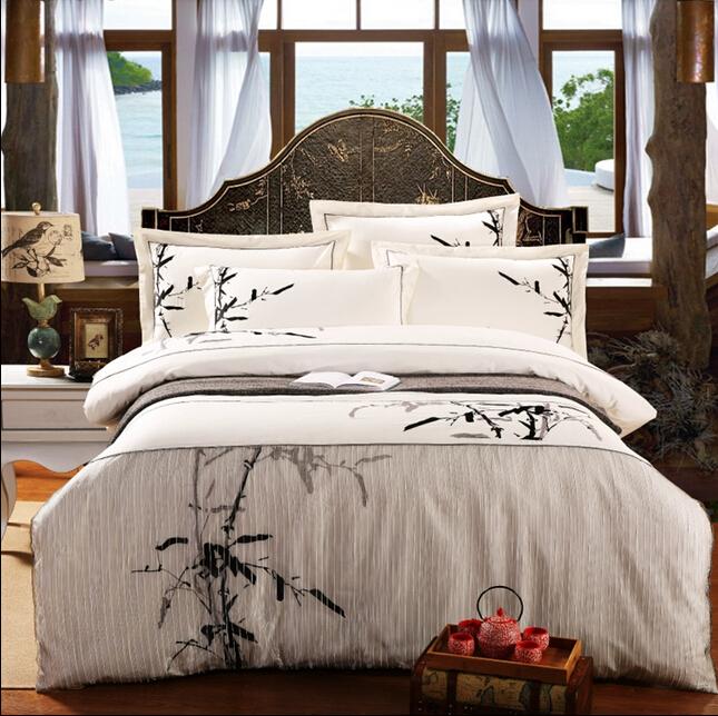长绒棉古典民族中式中国风刺绣四件套纯棉五星级酒店