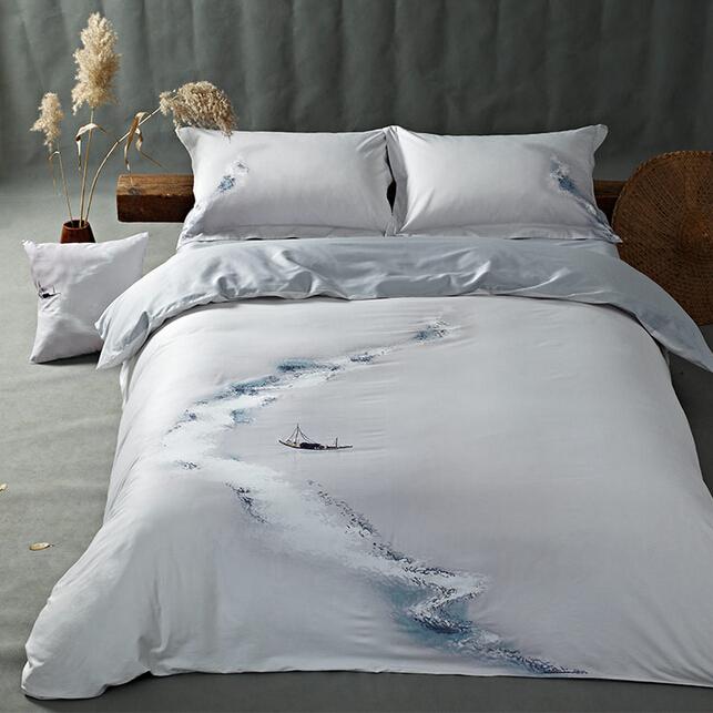 民族风四件套中式山水刺绣印花1.8米床上用品灰色全棉古典四件套