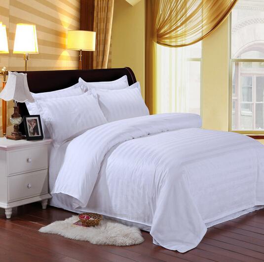 宾馆四件套酒店布草床上用品旅馆医院纯白色条纹全棉被套床单枕套