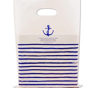 蓝色条纹海韵扣手袋 衣服装包装袋子