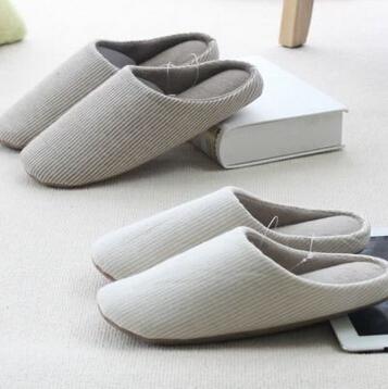 纯棉情侣韩国室内条纹良品防滑棉拖居家加厚毛拖鞋