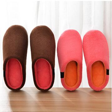 加厚棉拖鞋女家居室内保暖厚底半包跟防滑毛绒绵拖