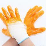 工厂直销全挂半挂PVC黄胶手套 耐磨防滑方切割尼龙劳保手套