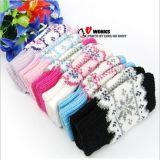 专业批发 时尚半指雪花手套 女士半包针织全棉手套 双层保暖