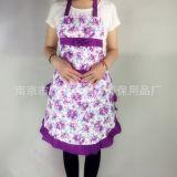 可爱家居厨房围裙韩版时尚无袖玫瑰花围裙 成人罩衣工作服反穿衣
