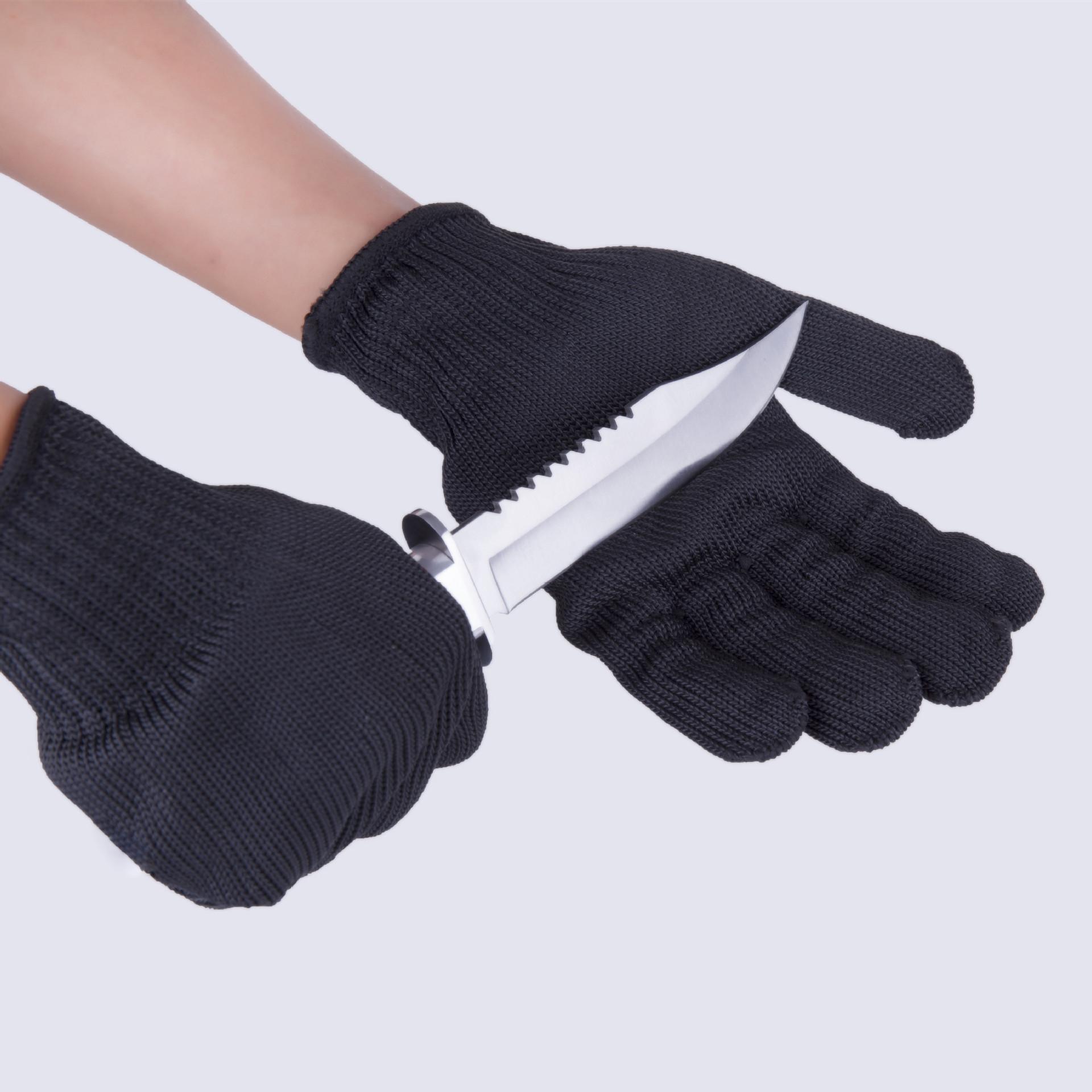 防割5A级钢丝手套专业加强型多用途防割防护手套黑色白美标欧标