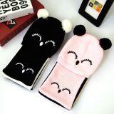 儿童帽子围巾两件套 秋冬款新款纯棉动物针织帽 宝宝套头帽子