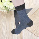 厂家直销春季精梳棉男士袜子 商务男袜 提花横条商务袜中筒袜
