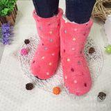 秋冬新款珊瑚绒家居保暖防寒毛绒防寒点胶地板棉鞋 月子棉靴