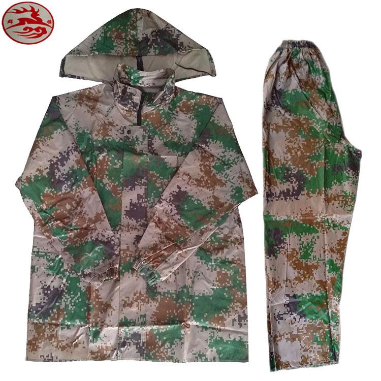 厂家直销防风防雨挡寒牛津布数码迷彩分体雨衣成人迷彩雨衣套装