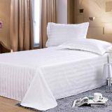 酒店宾馆床上用品床单批发 3公分缎条竖条纹全棉纯白色纯棉床单