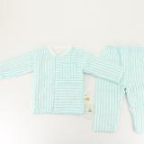 13纱布夹棉上衣裤拼色印花套装母婴用品纯棉长袖睡衣儿童空调衣服