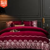 加厚保暖宝宝绒蕾丝四件套超柔纯色水晶绒珊瑚绒被套床笠床上用品