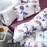 欧式60支长绒棉纯棉四件套全棉贡缎花卉客栈裸睡被套1.8米床品