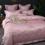 简约别墅欧式贡缎美式刺绣全棉双人四件套纯棉床单被套1.8m套件