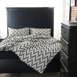 北欧简约几何图案酒店床上用品全棉床笠式四件套双层纱提花四件套