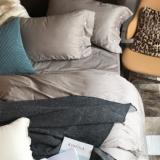 外贸北欧简约风格60支贡缎纯色四件套主题酒店素色床上用品床笠款