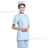 松鑫护士服短袖夏分体套装 白大褂医生服粉白蓝 偏襟立领款美容服