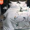 小美式60s埃及长绒棉群鸟刺绣四件套 全棉贡缎轻中式风床上用品