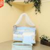 多功能实木新生儿床宝宝带护栏可移动婴儿床蚊帐五件套摇篮棉被