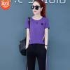 运动套装女春夏2019时尚韩版大码修身圆领夏天短袖长裤跑步两件套