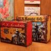 欧式创意木制手提箱摆件拍摄道具木箱子个性橱窗收纳箱服装店摆设