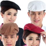 酒店厨师工作帽子 饭店服务员帽子贝雷帽