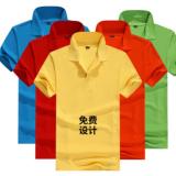 黑色翻领工作服定做 文化广告衫定制纯棉工装班服t恤印logo字
