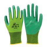 登升得劲儿129乳胶压纹手套防滑耐磨透气建筑工地货物劳保手套