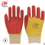 HT-806双色乳胶皱纹手套 劳保手套 浸胶 外贸内销耐磨舒适 直销