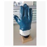 绒布全浸安全口蓝丁腈手套
