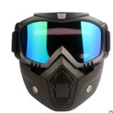 亚马逊爆款 户外哈雷半盔面罩摩托战术防护面罩 护目镜组合套装