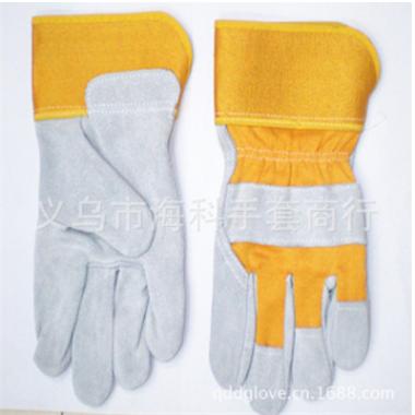 耐高温隔热耐磨防护电焊手套AB级黄胶黄布牛皮劳保短皮手套批发