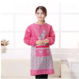 新韩版简约卡通罩衣长袖围裙防污围裙成人罩衣自行车厨房防尘罩衣