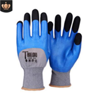 浸胶手套 透气王加强指耐磨防滑劳保手套 工地防护用工人手套批发