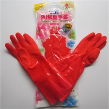 春蕾969-45绒里手套 劳保手套 保暖家用洗衣洗碗加长PVC手套