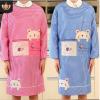 定位小熊桃皮绒罩衣一体式长袖家居围裙反穿工作服可定制广告印字